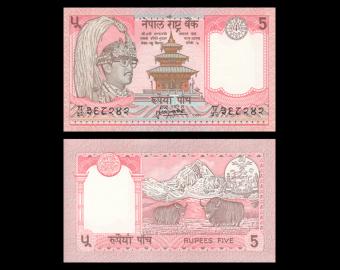 Nepal, P-30a4, 5 roupies, 1995-2000
