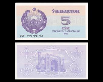 Uzbekistan, P-63, 5 som, 1992
