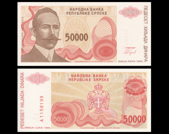 Bosnia and Herzegovina, P-153, 50000 dinara, 1993
