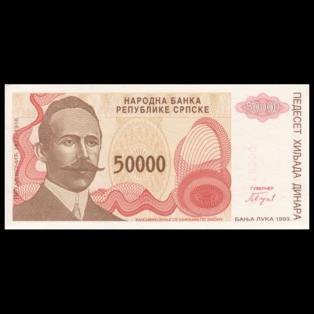 UNC Bosnia Herzegovina 50000 50,000 Dinara 1993 P-150 Prefix A