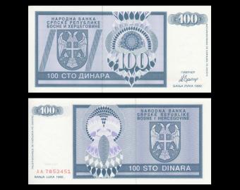 Bosnia and Herzegovina, P-135, 100 dinara, 1992
