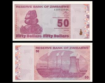 Zimbabwe, P-96, 50 dollars, 2009, Presque Neuf / A-UNC