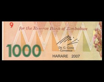 Zimbabwe, P-71, 1000 dollars, 2007, Presque Neuf / A-UNC