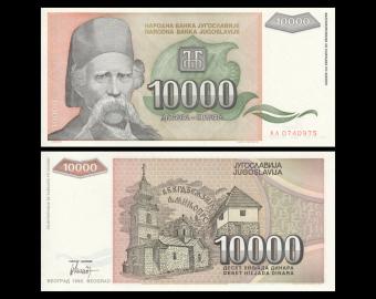 Yugoslavia, P-129, 10 000 dinara, 1993