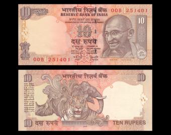 Inde, P-095b, 10 roupies, 2006