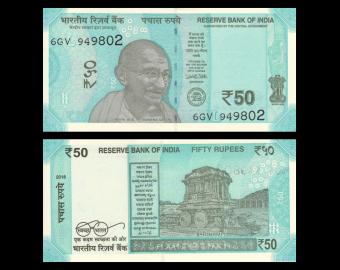 Inde, P-111e, 50 roupies, 2018