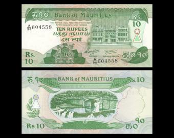 Mauritius, P-35b, 10 roupies, 1985