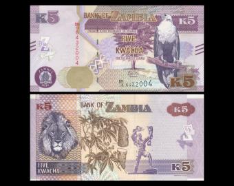 Zambie, P-57b, 5 kwacha, 2018