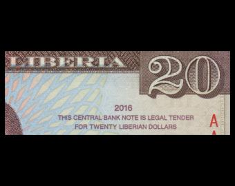 Liberia, P-33a, 20 dollars, 2016