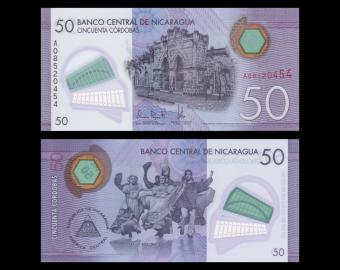 Nicaragua, P-211, 50 cordobas, polymère, 2014