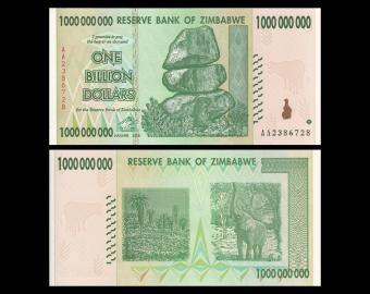 Zimbabwe, P-83, 1 billion dollars, 2008
