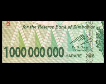 Zimbabwe, P-83, 1 milliard dollars, 2008