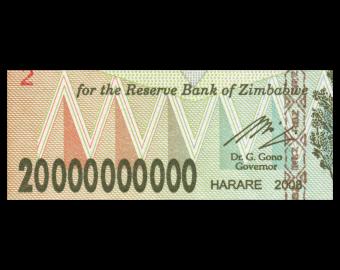 Zimbabwe, P-086, 20 000 000 000 dollars, 2008