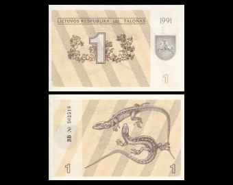 Lithuania, P-32a, 1 talonas, 1991