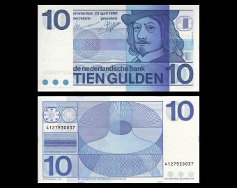 Pays-Bas, P-91b, 10 gulden, 1968