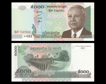 Cambodge, P-55d, 5000 riels, 2007