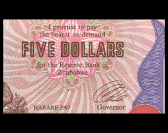Zimbabwe, P-05b, 5 dollars, 1997