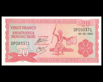 Burundi, P-27d, 20 francs, 2005