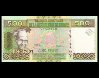 Guinea, P-39a, 500 francs, 2006