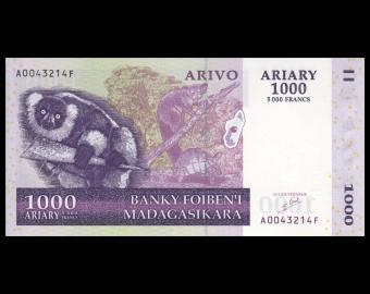 Madagascar, P-089a, 1000 ariary, 2004