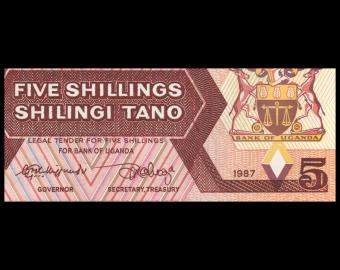 Uganda, P-27, 5 shilingi, 1986