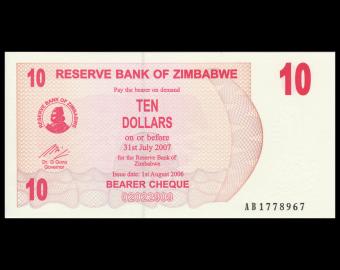 Zimbabwe, P-39, 10 dollars, 2006