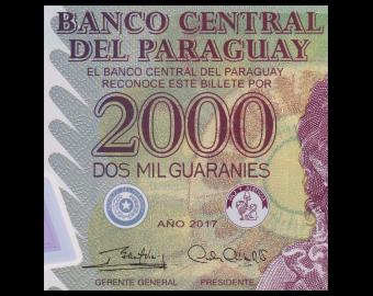 Paraguay, P-228d, 2000 guaranies, Polymer, 2017