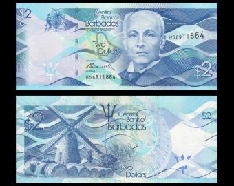 Barbade , P-73a, 2 dollars, 2013