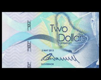 BARBADOS, P-73a, 2 dollars, 2013