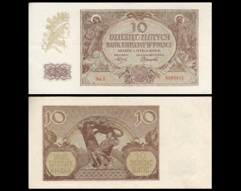 Poland, P-094, 10 zlotych, 1940, SUP / EXFine