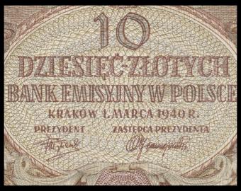 Pologne, P-094, 10 zlotych, 1940, SUP / EXFine
