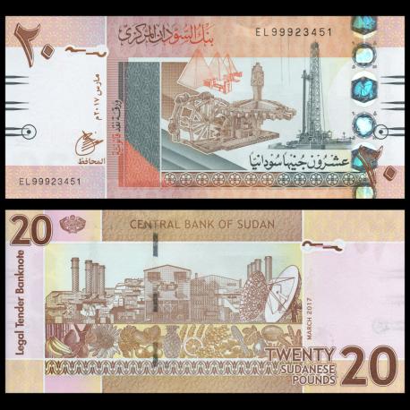 South Sudan 20 Pounds p-13 2017 UNC Banknote