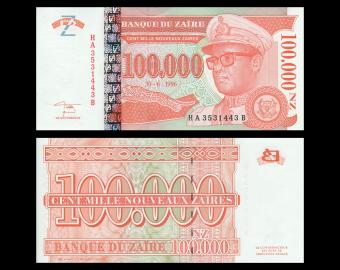 Zaïre, P-76, 100000 nouveaux zaïres, 1996