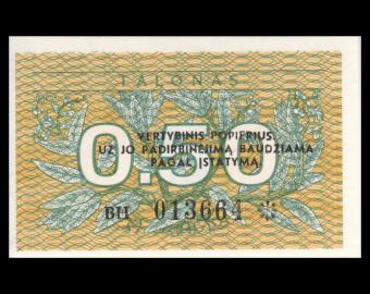 Lituanie, P-31b, 0.50 talonas, 1991