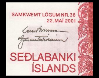Iceland, P-58a(2), 500 kronur, 2001