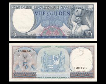 Suriname, P-120b, 5 gulden, 1963