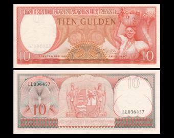 Suriname, P-121b, 10 gulden, 1963