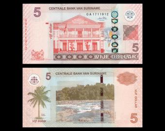 Suriname, P-162a, 5 dollars, 2010