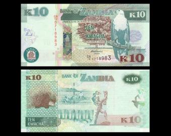 Zambie, P-51a, 10 kwacha, 2012
