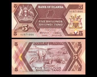 Ouganda, P-27, 5 shilingi, 1987