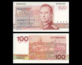 Luxembourg, P-58b, 100 francs, 1993