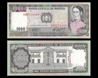 Bolivia, P-167, 1000 pesos bolivianos, D1982