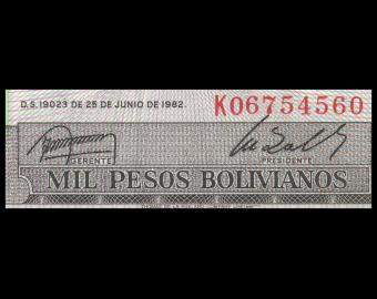Bolivia, P-167c, 1000 pesos bolivianos, D1982