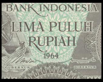 Indonésie, P-096, 50 rupiah, 1964