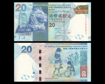 HongKong, P-212c, 20 dollars, 2013