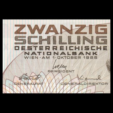 UNC Austria 20 Schilling P-148 1986