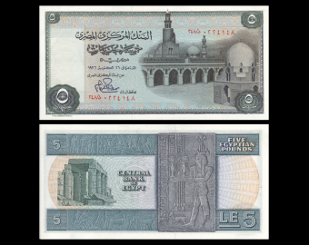 Egypte, P-045a3, 5 pounds, 1976