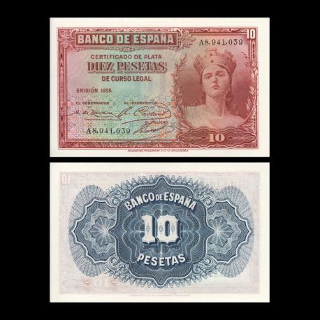 Spain, P-086, 10 pesetas, 1935
