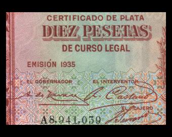 Espagne, P-086, 10 pesetas, 1935