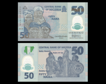 Nigéria, P-40h, 50 naira, 2018, Polymère